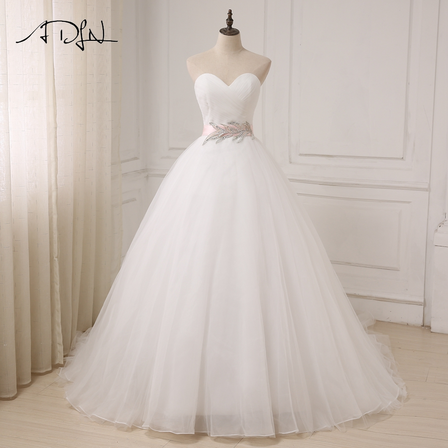 ADLN New White/ Ivory Wedding Dresses Cheap Sweetheart Sleeveless Ball Gown Tulle Bridal Gowns Sahshes Pink Robe De Mariage