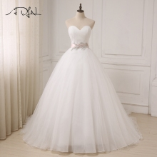 ADLN Baru Gaun Perkahwinan Putih / Gading Murah Kekasih gaun Tanpa lengan Ball Gaun Tulle Pengantin Gaun Sahshes Pink Robe De Mariage