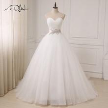 ADLN Νέα λευκά / ελεφαντόδοντο νυφικά Φτηνές Sweetheart αμάνικο φόρεμα μπάλα Τούλι νυφικά εσθήτες Sahshes ροζ Robe De Mariage
