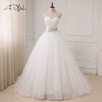 ADLN New White Ivory Wedding Dresses Cheap Sweetheart Sleeveless Ball Gown Tulle Bridal Gowns Sahshes Pink