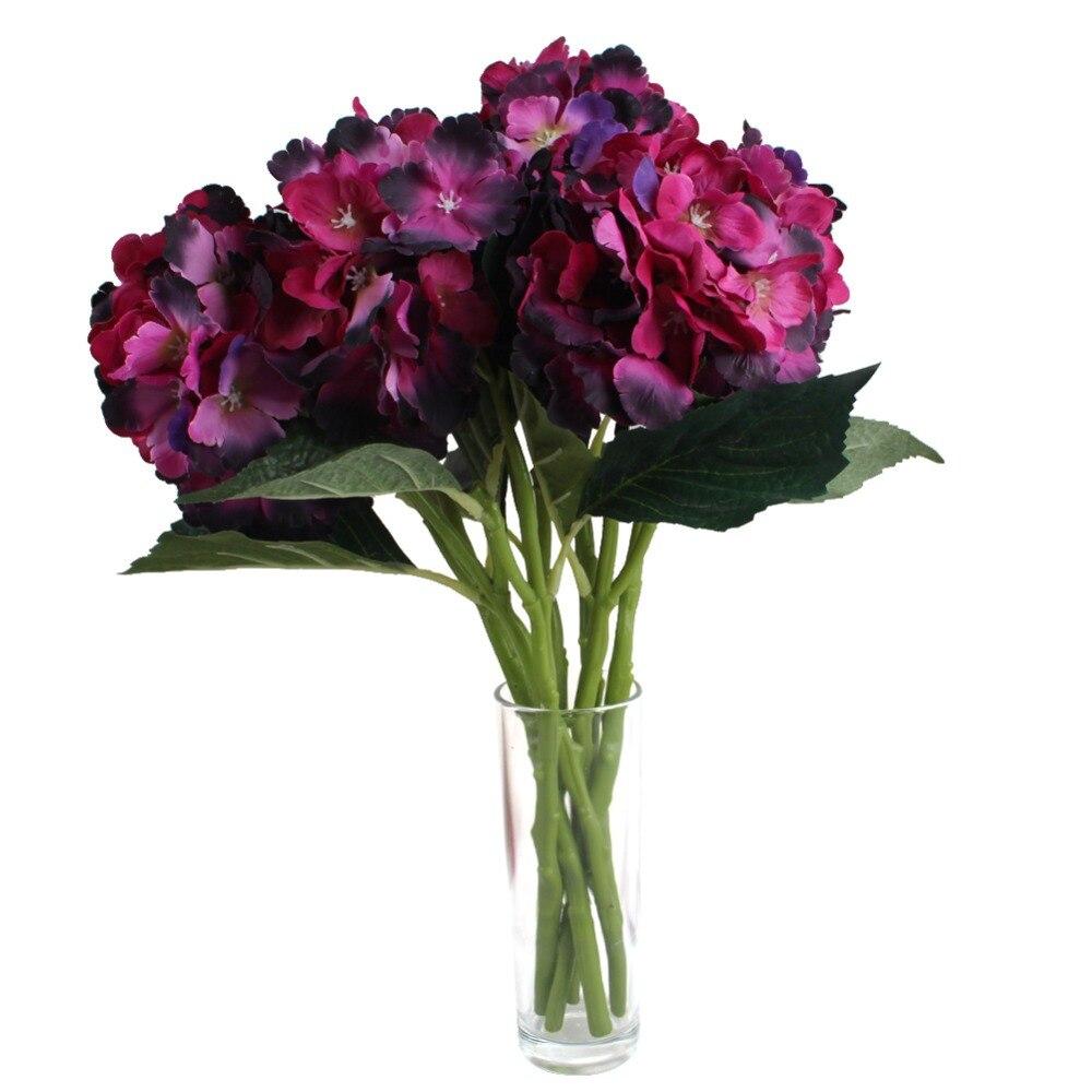 2 unids/lote Artesanal de Flores de Hortensia Ramo de Novia Ramo de La Boda Flor