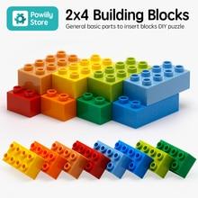 цена на big building blocks 2x4 Block 10PCS/Lot DIY Education Technic Toys Brick Compatible With Duplo Set Toys For Children