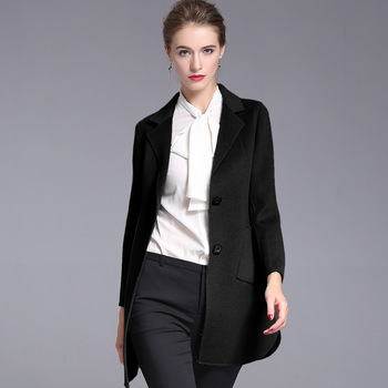 2018 Autumn and winter large size women's double-faced cashmere wool overcoat suit collar slim woolen coat for women 20173011