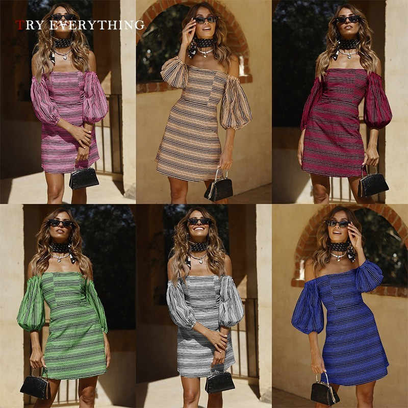 Striped Sexy Dress Women Summer 2019 Blue Open Shoulders Short Party Dress Ladies Pink Strapless Tunic Sexy Mini Dresses Women in Dresses from Women 39 s Clothing
