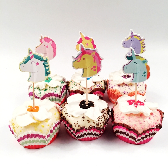 24pcslot Cartoon Multicolor Unicorn Horse Cupcake Toppers Pick Baby