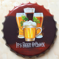 BEER Large Beer Cover Tin Sign Logo Plaque Vintage Metal Painting Wall Sticker Iron Sign Bar KTV Store Decorative 40X40 CM
