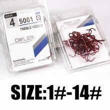 15pcs/box 5001 red owner Treble Hooks Size 1/2/4/6/8/10/12/14# Carbon Steel Barbed Fishhooks Super Sharp Triple Sea
