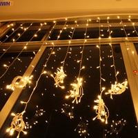 IWHD 6x3M Cortain De LED Christmas Lights Outdoor 110 220V Fairy Lights EU US Plug LED