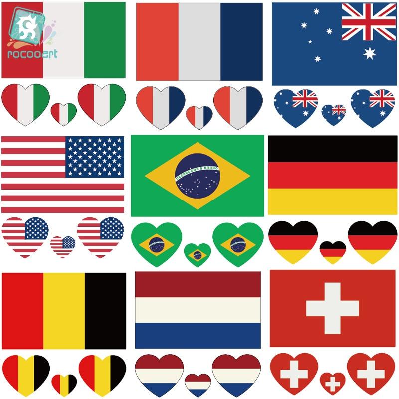 Rocooart CCFlags 6X6cm USA American Australia Brazil Germany Flag Temporary Tattoo Sticker Body Art Water Transfer Fake Taty
