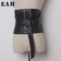 EAM 2017 New Autumn Solid Color Black PU Leather Bandage Belt Women Fashion Tide All
