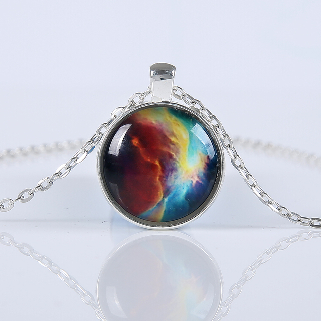 Women Fashion Galaxy Nebula Space Glass Cabochon Pendants Brand Necklace Jewelry