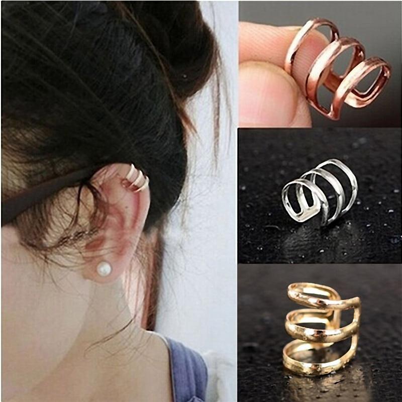 1PC 2016 Brand New Punk Rock Ear Clip Cuff Wrap Earrings No piercing-Clip Women Men Party Jewelry Cheap Wholesale Drop Shipping