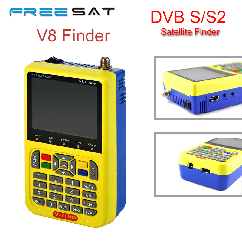 [Genuine] Freesat V8 Finder DVB-S/S2 High Definition Support 1080P HD MPEG-4 With 3.5 inch LCD Display Satellite Signal Finder genuine hd dvb s2 freesat v8 satellite finder high definition satellite finder mpeg 4 v8 satellite meter finder