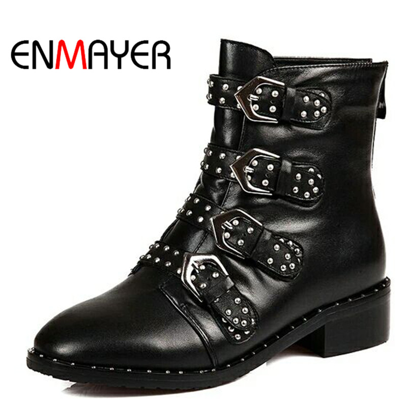 ENMAYER 2018 Fashion New Motorcycle Boots Genuine Leather Women Boots Pointed Toe Buckle Black Shoes Women