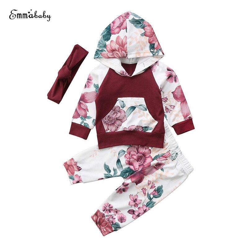 Girls Headband Outfit Infant Pants 3PCs//Set Newborn Baby Florals Tops Shirt