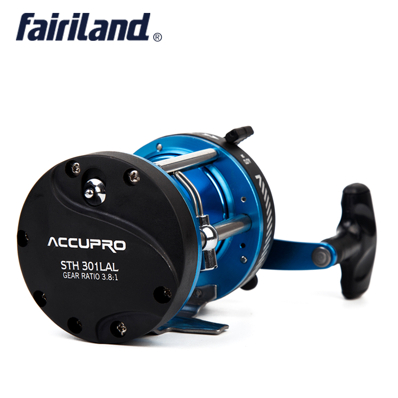 Fairiland 5BB 3.8:1 Trolling Boat Fishing Reel LEFT HAND 508g/17.9oz Drum Trolling Reel  Two  Color Available Baitcasting Roller 1pcs ct100 3bb drum fishing reel stainless steel trolling reel boat fishing reel 3 8 1