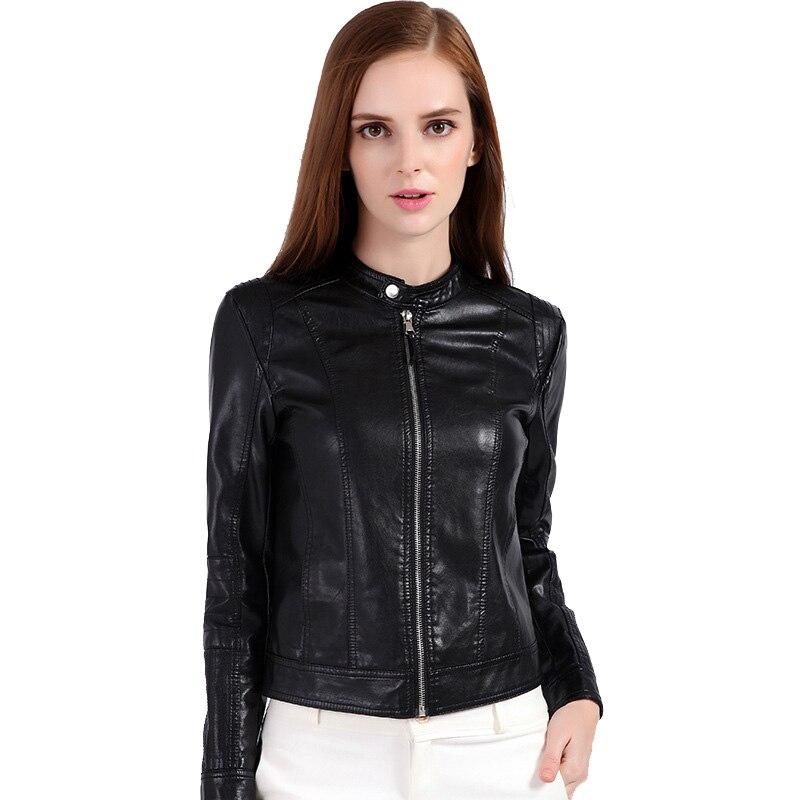 Новые осенне-весенние Женская Мода Босоножки из искусственной pu кожи пальто черный Slim Fit мотоциклетные Кожаные куртки женская одежда женск... ...