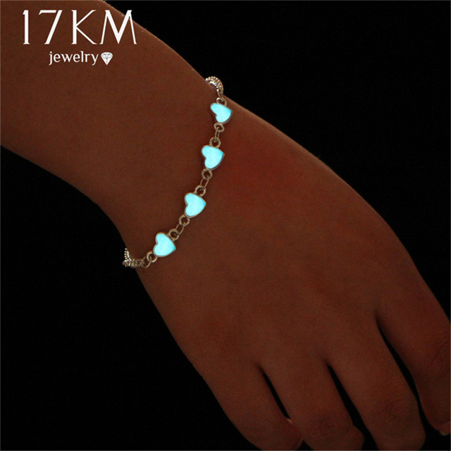 17KM Luminous Heart Pendant Bracelets For Women Pretty Punk Bracelet Lover Bangl