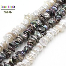 Natural 8-10mm White Black Freshwater Pearl Irregular Beads for Bracelets Necklace DIY Jewelry Making 15'' Strand 15 5 strand natural white