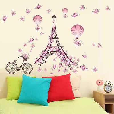 رومانسية باريس الجدار ملصق للأطفال غرف برج ايفل زهرة فراشة الجنية جدار الفن صائق ديكور المنزل جدارية خلفية ملصق