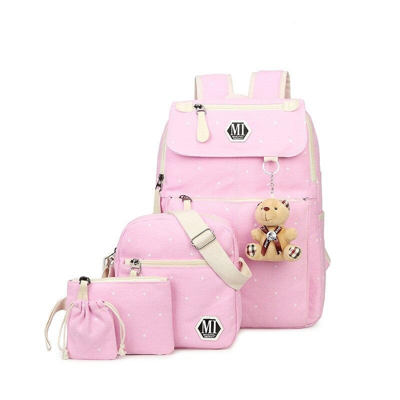 Girls Canvas Backpack 4 Pcs/set Women School Backpacks Schoolbag For Teenagers girls travel backpack Book Bag Cute Bear pendant|schoolbags for teenagers|backpack schoolbag|school backpack - title=