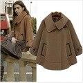Оптовая Материнства осень и зиму одежду новый длинные участки шерстяные пальто мыса мыса пальто свободные большие ярдов куртка женщин