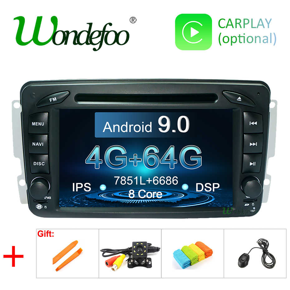 DSP IPS 64G Android 9.0 2 DIN DVD PLAYER For Mercedes Benz W209 W203 M ML W163 Viano W639 Vito Vaneo GPS Radio Navigation Screen