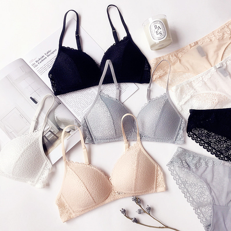 Female Underwear Japanese 3/4 Cup Thin Lace lingerie Set Deep V Sexy Bra Set Wireless Bra Women Underwear Set Bralette