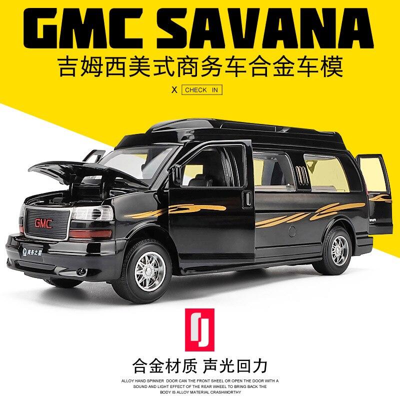 Electric Alloy Scale Car Models Die-cast coche carro Toys for Children mkd3 1:32 auto Vehicle Sound Light GMC SAVANA RV Car