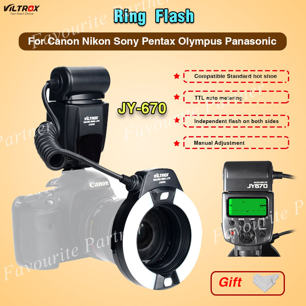 Viltrox JY-670 Macro Ring Flash Speedlite for Canon Nikon Pentax Olympus Macro photography flash Hot shoe flash Universal flash