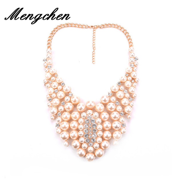 New Big Luxury Vintage Pearl Necklace With Short Style Pearl Necklace  Pendant Clavicle Exaggerated Statement Necklace e4ac4a42db04