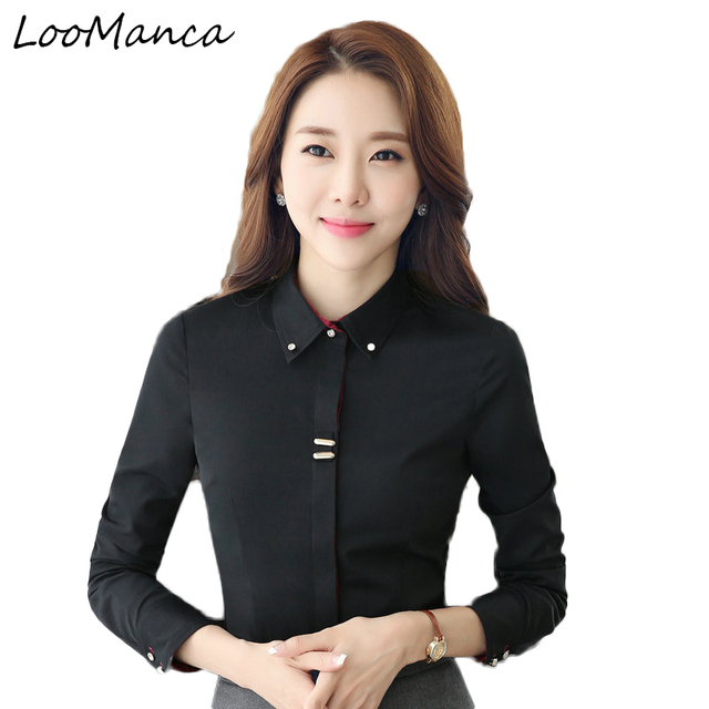56c027411dff9 Plus size 3XL business women long sleeve shirt black white slim cotton  blouse fashion office ladies