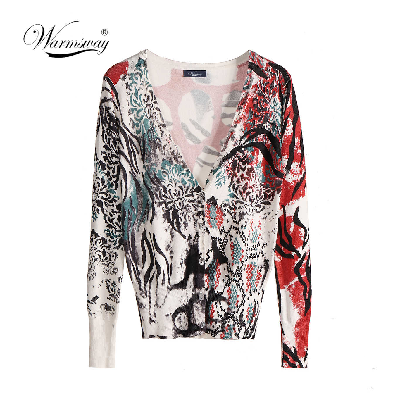 Women V Neck Printed Leopard Knitted Cardigans Pretty Single Breasted Snake Cardigan Sweaters B-125