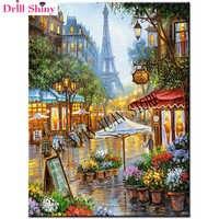 3d diy full diamond painting embroidery street of paris rhinestone picture diamond mosaic swan love gift craft wall sticker gift