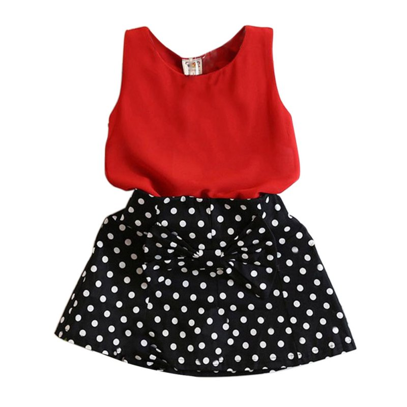 Fashion Summer Kids Baby Girl Clothing Set Sleeveless Chiffon Tops+Polka Dot Bowknot Mini Skirts X16