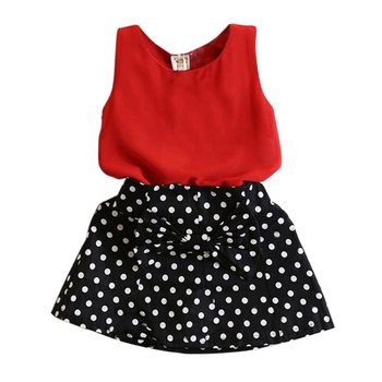 Fashion Summer Kids Baby Girl Clothing Set Sleeveless Chiffon Tops+Polka Dot Bowknot Mini Skirts X16 conjuntos casuales para niñas