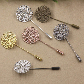 25mm Blank Filigree Circle Flower Brooch Pins w/ a Stopper Hat Pins Safety-pin Settings Multi-color Brooches Bases Findings
