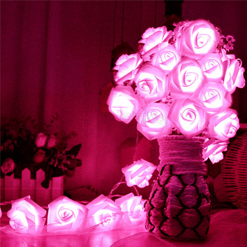 1M/2M/3M/4M/5M LED Battery Operated Romantic Rose Shape Fairy String Light Chain Home Party Christmas Garland Wedding Decoration