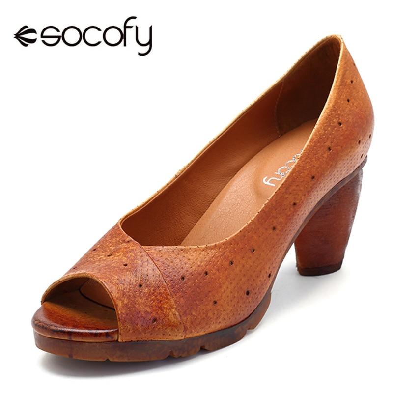 купить Socofy Genuine Leather Block Heels Peep Toe Pumps Women Shoes Summer Casual Ladies Shoes Vintage Pumps Heels Woman Spring Autumn онлайн