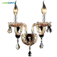 LAINGDERFUL Europe Wall Lamps Crystal LED Broken Diamond Lampshade Decorate Wall Lamp For Foyer Bedroom Lighting Decoration