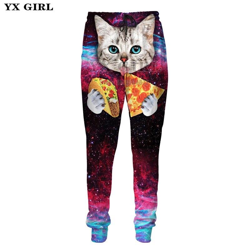 YX Girl 3d Printed Pizza Cat Galaxy Cat Sweatpants For Women Men Track Pants Fitness Joggers Hip Hop Streetwear Pantalon Homme