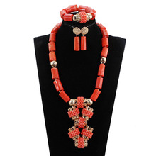 Fabulous Orange Coral African Wedding Beads Jewelry Set Original Traditional African Nigerian Coral Bead Necklace Set PJW139