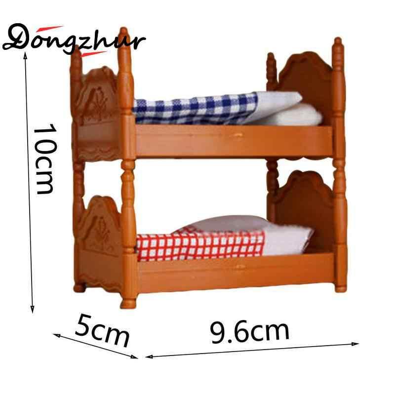 Новый миниатюрный пластиковый ПВХ двухъярусный кукольный домик лестница кровать мебель набор детская спальня ролевые игрушки подарки для 1/12 Кукольный дом украшения