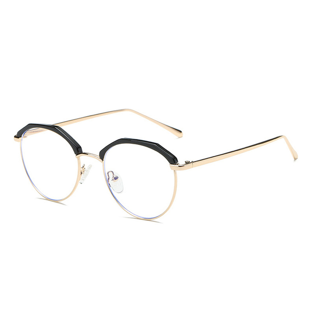 101027c066 LAOKE Half-frame Cheap Small Round Nerd Glasses Clear Lens Unisex Gold Round  Metal Frame