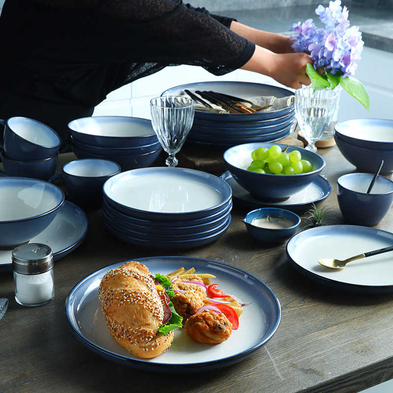 Color Gradient Plates And Cups Restaurant Ceramic Tableware Simple Style Bowls Chinese Elegant Food Containers Kitchen Utensils