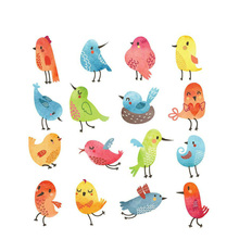 10pcs/lot Cartoon Birds Patches For Clothes 16pcs/lot T-shirt Dresses DIY Accessory Decoration A-level Washable Appliques