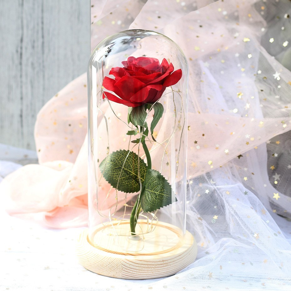 Красавица и Чудовище красная роза в стеклянном куполе на деревянной основе для подарков на день Святого Валентина - Цвет: Бургундия
