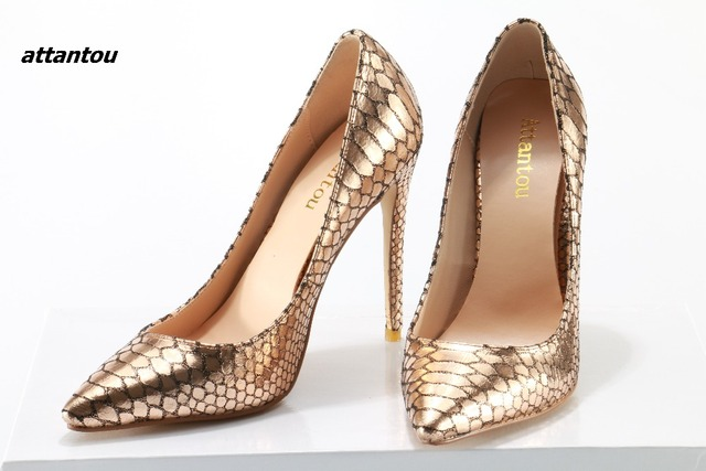 Hot Selling Pointed Toe Stiletto Heel Women Shoes Gold Snake Leather Thin High  Heels Party Shoes 1c4aa39dac5e