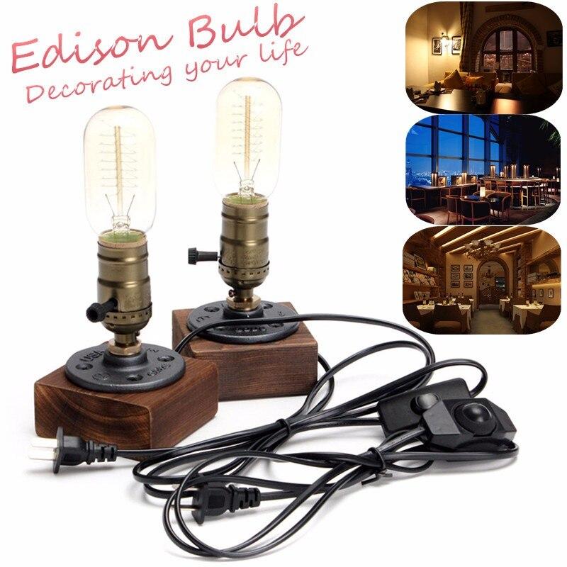 220V E27 Industrial Retro Vintage Edison Desk Light Table Lamp Wooden Socket Lighting Fixture Dimmable Cafe Decor
