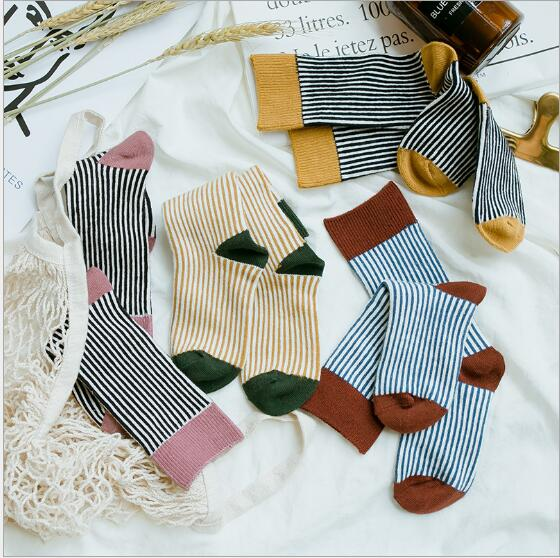 Combed cotton kids stockings spring autumn children vertical strip color matching Luokou stockings 3